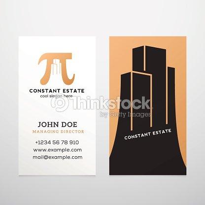 Konstante Immobilien Abstrakte Vektorvisitenkarte Vorlage Pi