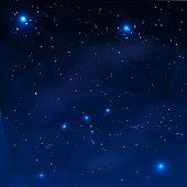 Constellation of Orion on a dark blue background in the polygonal style. Vector illustration.