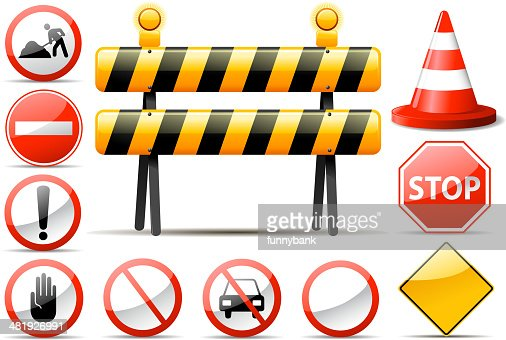 Construction Barrier Symbols Vector Art Getty Images