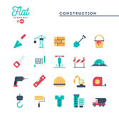 Construction, building, project, tools and more, flat icons set, vector illustration