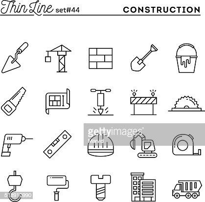 Bau, Gebäude, Projekt, Werkzeuge und vieles mehr, dünne Linie Symbole Satz : Vektorgrafik