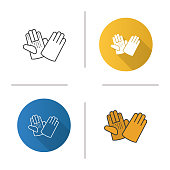 Construction gloves flat design, linear and color icons set