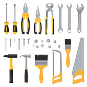 Construction hardware industrial tools vector flat icons. Illustration of saw and hammer, instrument for work and repair