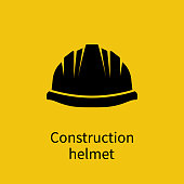 Construction helmet silhouette. Pictogram safety hat. Plastic headwear. Vector illustration flat design. Isolated on yellow background.