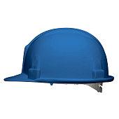 Vector illustration of a blue helmet builder 3d. Side view.
