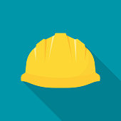 Construction helmet. Yellow safety hat. Plastic headwear. Vector illustration flat design. Isolated on background.