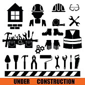 Set of construction tools icons.Conceptual image of tools for repair, construction and builder. Concept image of work wear. Cartoon flat vector illustration. Objects isolated on a background.
