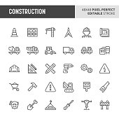 30 thin line icons associated with construction. Symbols such as crane, working tools, transportation and construction sign are included in this set. 48x48 pixel perfect vector icon & editable vector.