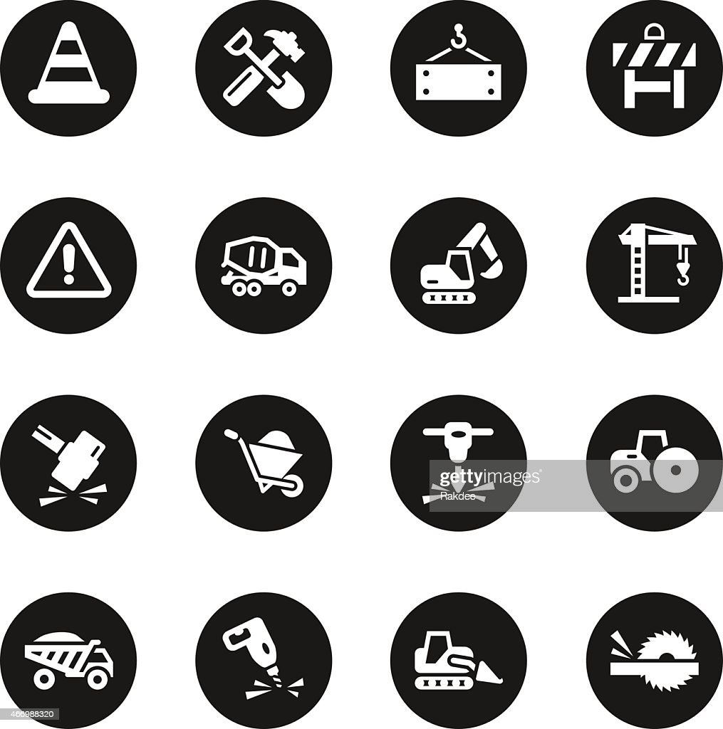 Construction icons black circle series vector art getty images for Black circle vector