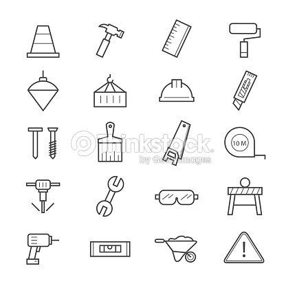 Iconos de construcci n arte vectorial thinkstock - Herramientas del albanil ...