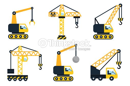 What Are The Different Types Of Cranes : Construction icons types of cranes flat vector
