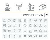 Vector thin line icons set and graphic design elements. Illustration with construction, industrial, architectural, engineering outline symbols. Home repair tools, worker, building linear pictogram