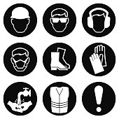 Monochrome black and white Construction and manufacturing Industry Health and Safety Icon collection isolated on white background