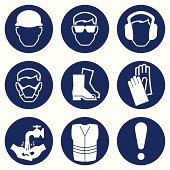 Construction Industry Health and Safety Icons isolated on white background