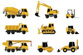 Construction machines in flat style. Vector icons of building machinery.
