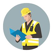Vector illustration of construction manager looking at documents