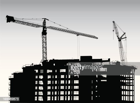 Construction Site Vector Silhouette Vector Art | Getty Images
