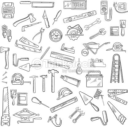 Construction Tools And Equipment Objects stock vector