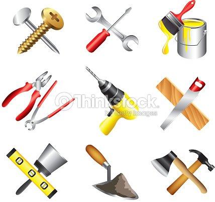 Construction outils ic nes s rie clipart vectoriel - Materiel de peinture batiment ...