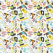 Construction tools vector icons seamless pattern. Hand equipment background in flat style. Repair industrial symbols background. Home carpenter hardware instrument vector.