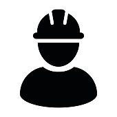 Construction Worker Icon - Vector Person Profile Avatar With Hardhat Helmet in Glyph Pictogram Symbol illustration