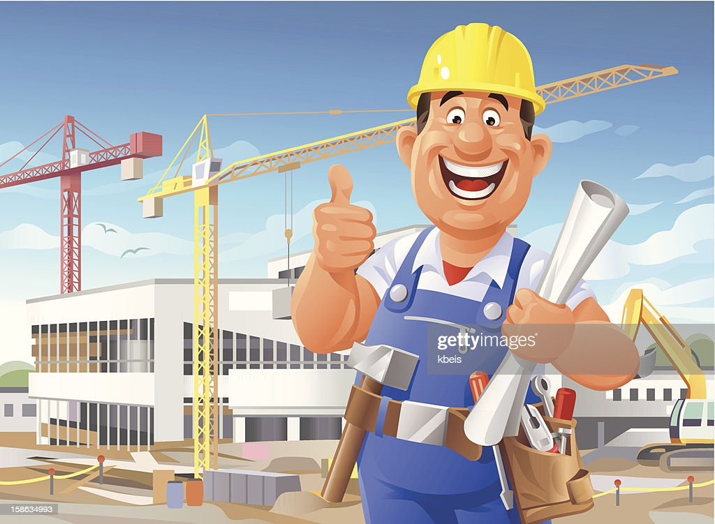 Construction Worker on Site : Vector Art