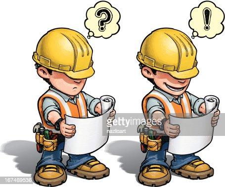 Bauarbeiter bei der arbeit comic  Bauarbeiterlesung Planen Vektorgrafik | Thinkstock