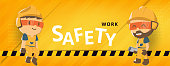 Construction worker repairman banner, safety first, health and safety, vector illustrator
