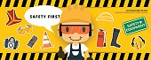Construction worker repairman  thumb up banner, safety first, health and safety, vector illustrator