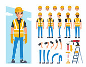 Construction worker character  for animation. Flat style vector illustration isolated on white background.