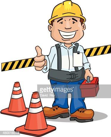 Bauarbeiter bei der arbeit comic  Bauarbeiter Mit Helm Vektorgrafik | Thinkstock