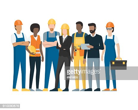 Construction workers and engineers : stock vector