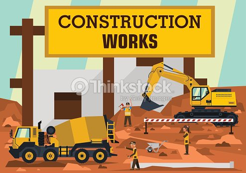 Construction works. A group of engineers, workers construct the building. Special and heavy machinery. Concrete mixer and excavator. Are dripping ground. Vector illustration. Flat style.