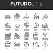 Modern thin line icons set of construction works on site and building tools. Premium quality outline symbol collection. Simple mono linear pictogram pack. Stroke vector symbol concept for web graphics