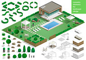 Constructor for the surrounding area. Set of landscape elements stones and plants for the design of the garden or the park. Vector graphics. Architectural isometrics