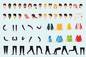 Set of different body parts, emotions, hands, legs clothes