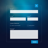 modern style contact form on blue blured background