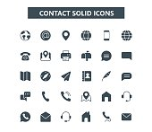 Contact glyph mini icons. 24x24 grid. Pixel Perfect. eps 10