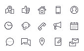 Contact icons set outline style