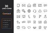Contact line icons. Icons for user interface and web.