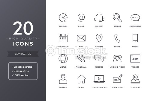 Contact Line Icons : stock vector