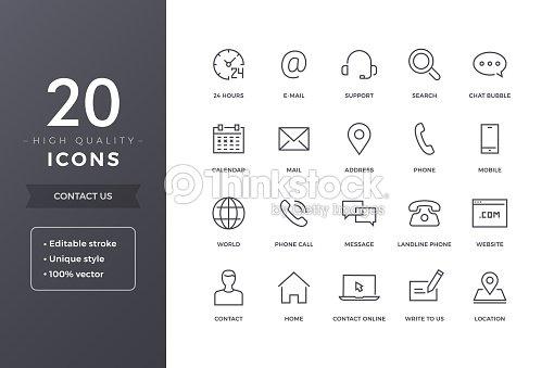 Iconos de la línea de contacto : arte vectorial