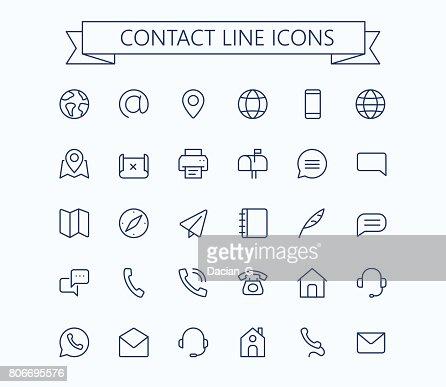 Kontaktieren Sie Linie Mini-Icons. 24 x 24 Raster. Pixel Perfect. : Vektorgrafik