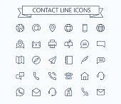 Contact line mini icons. 24x24 grid. Pixel Perfect. eps 10