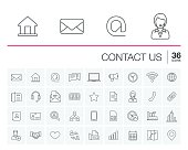 Vector thin line icons set and graphic design elements. Illustration with contact us outline symbols. Communication, home, call, speech bubble, email, letter, envelope, handshake linear pictogram