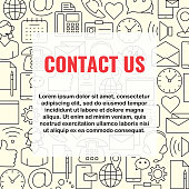 Contact us line, outline icons set. Support feedback set for web construction mobile apps banners corporate brochures book covers layouts. Flat style design vector illustration
