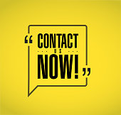 contact us now line quote message concept isolated over a yellow background