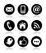 Social media, contact page circle black icons set with shadow isolated on white