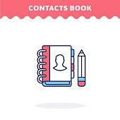 Contacts book icon, vector. Flat design. Advantage icon.