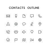 Contacts outline icon set - envelope, pencil, document, phone, chat, mail, man, arrow, globe, map, address  and others simple vector symbols. Website and business signs.